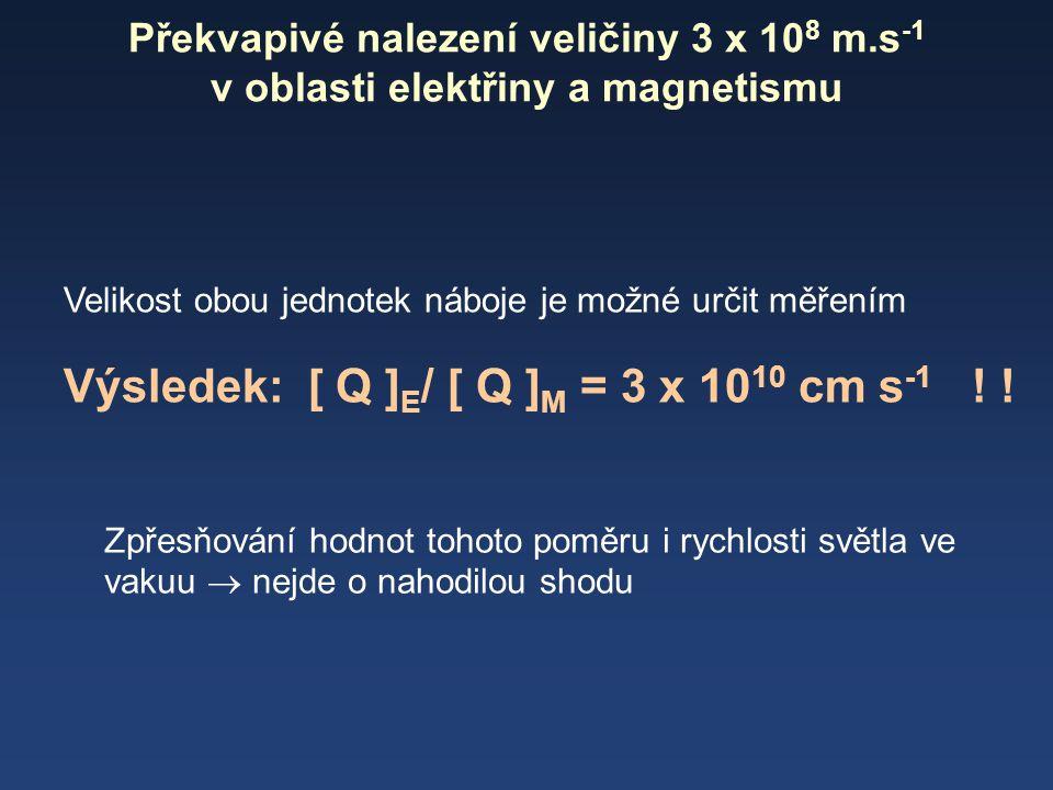 Výsledek: [ Q ]E/ [ Q ]M = 3 x 1010 cm s-1 ! !